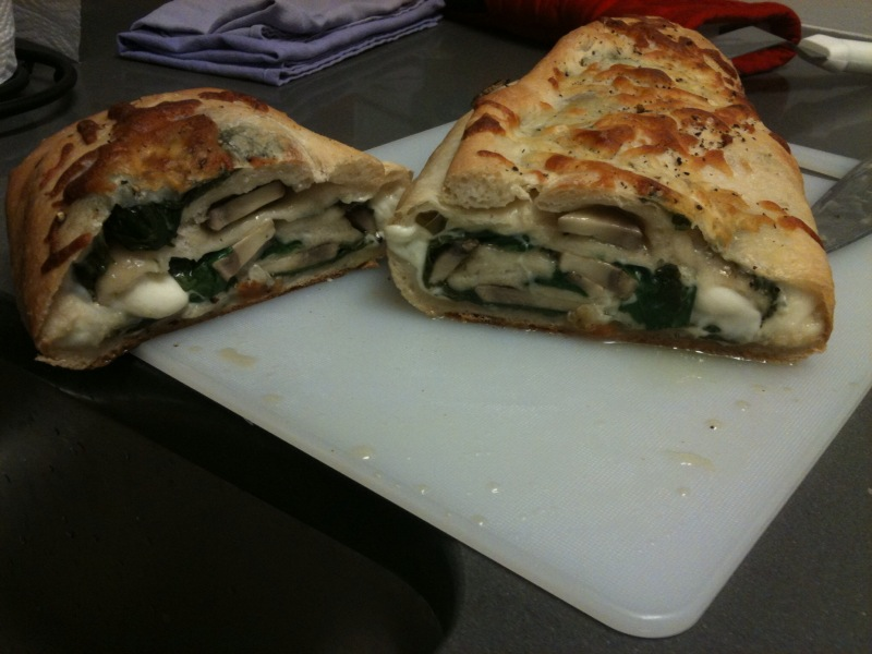 Pizza Stromboli With Spinach, Mushrooms, And Cheese Recipe ...